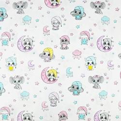 Zwierzątka śpiące różowo turkusowe na białym tle