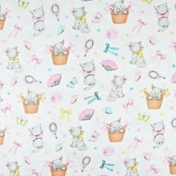 kotki w różowej kokardce na białym tle
