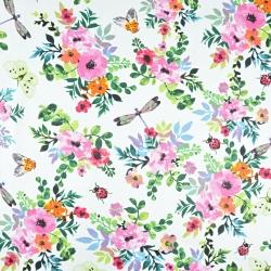 kwiaty maki kolorowe z owadami na białym tle
