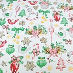 wzór świąteczny dekoracje RETRO na białym tle