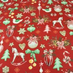 wzór świąteczny dekoracje RETRO na czerwonym tle