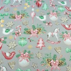 wzór świąteczny dekoracje RETRO na szarym tle