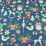 wzór świąteczny dekoracje RETRO na jeansowym tle