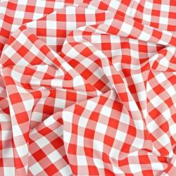 Tkanina obrusowa plamoodporna - krata duża czerwona
