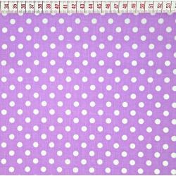 Tkanina w grochy białe na fioletowym tle