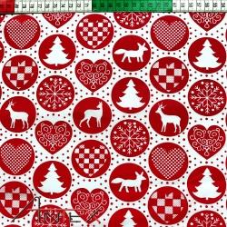 Tkanina wzór świąteczny koła czerwone
