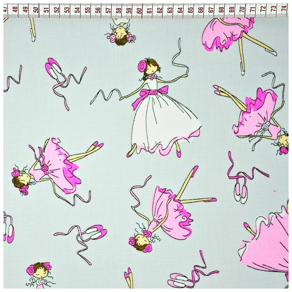 Bawełna Baletnice różowo białe na szarym tle