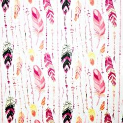Tkanina w piórka z koralikami różowe na białym tle
