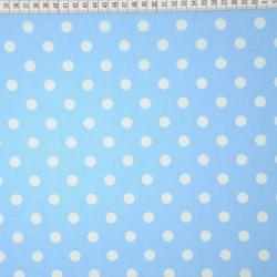 Bawełna grochy białe na niebieskim tle