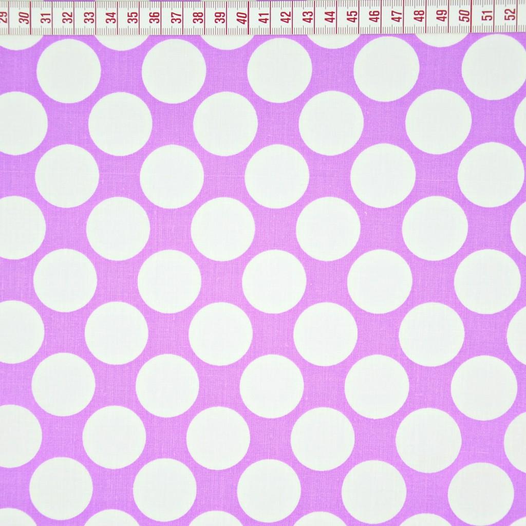 Tkanina w koła białe na fioletowym tle