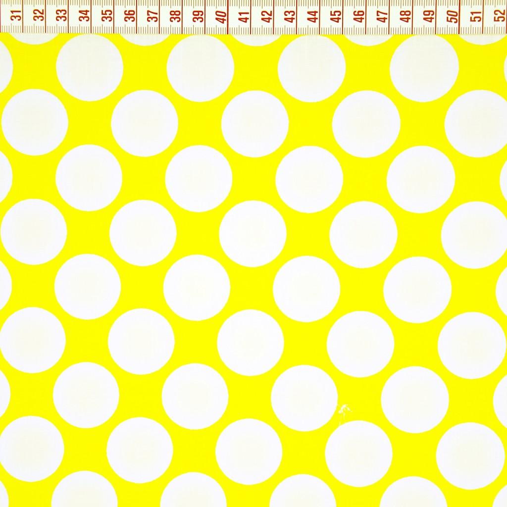 Tkanina w koła białe na żółtym tle