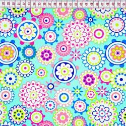 Tkanina w kwiaty kolorowe w kołach na morskim tle
