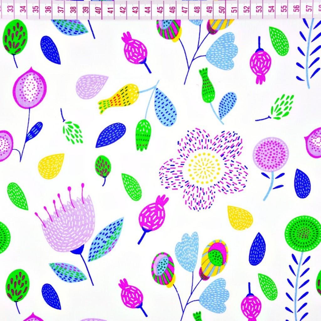 Tkanina łąka fioletowo zielona na białym tle