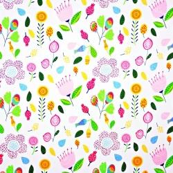 Tkanina łąka różowo zielona na białym tle