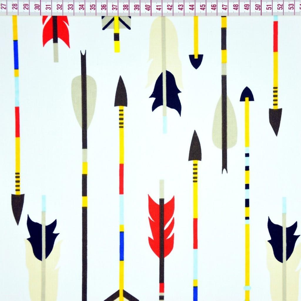 Tkanina w strzałki indiańskie na białym tle