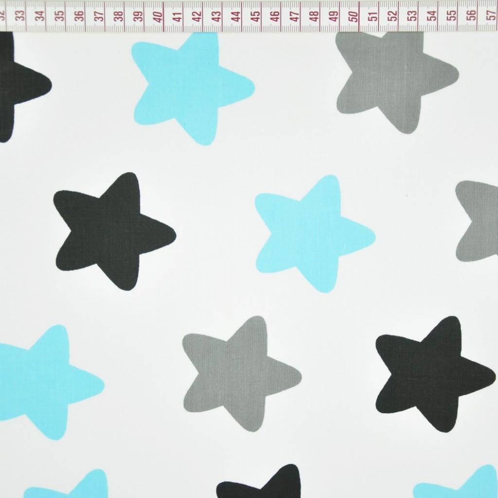 Tkanina w gwiazdki piernikowe szaro niebieskie na białym tle