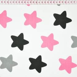 Tkanina w gwiazdki piernikowe szaro różowe na białym tle
