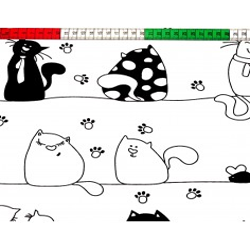 Tkanina w kotki szalone czarne na białym tle