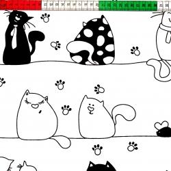 Tkanina w kotki szalone w pasach czarne na białym tle