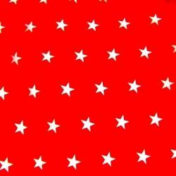 Bawełna gwiazdki 20mm białe na czerwonym tle