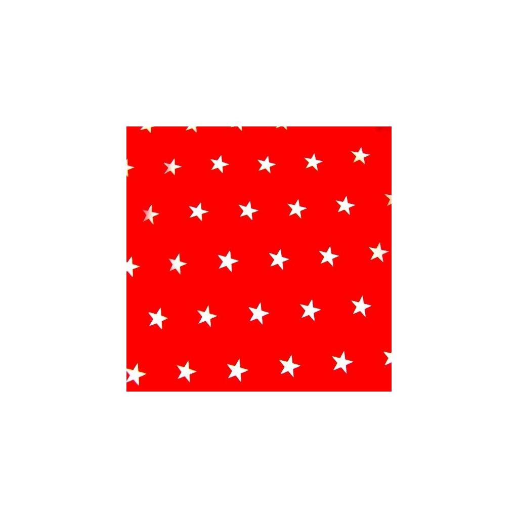 Tkanina w gwiazdki 20mm białe na czerwonym tle