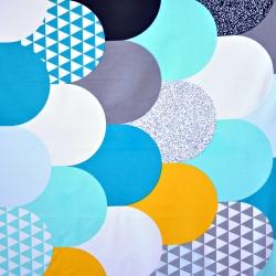 Bawełna patchwork kolorowy w łuski