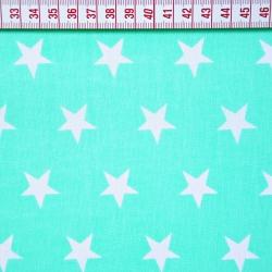Bawełna gwiazdki 20mm białe na miętowym tle