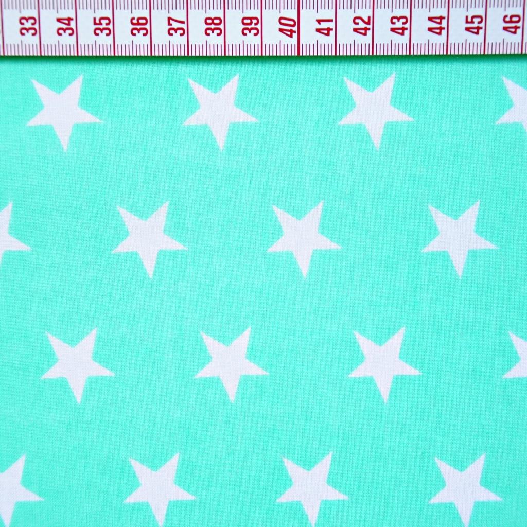 Tkanina w gwiazdki 20mm białe na miętowym tle