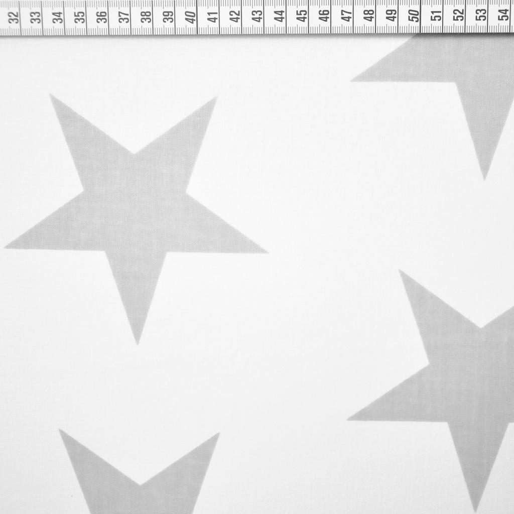 Tkanina w gwiazdy 90mm szare na białym tle