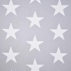 Tkanina gwiazdy 90mm białe na szarym tle