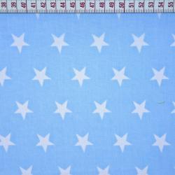 Bawełna gwiazdki 20mm białe na niebieskim tle
