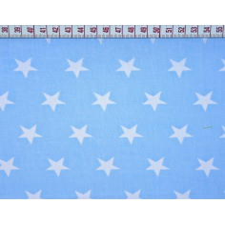 Tkanina w gwiazdki 20mm białe na niebieskim tle