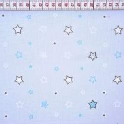 Bawełna gwiazdki biało niebieskie na szarym tle