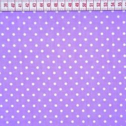 Tkanina w Kropki białe na fioletowym tle