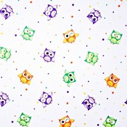 Tkanina w sówki z kropeczkami na białym tle
