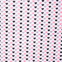 Tkanina w serduszka 12mm szaro różowo czarne na białym tle