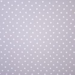 Tkanina w serduszka 8mm białe na szarym tle