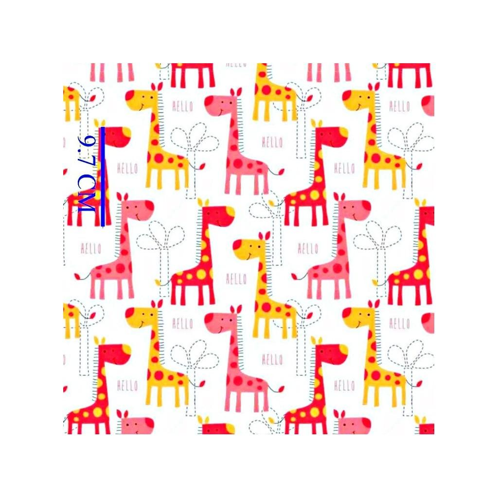 Tkanina w żyrafy różowo pomarańczowe na białym tle