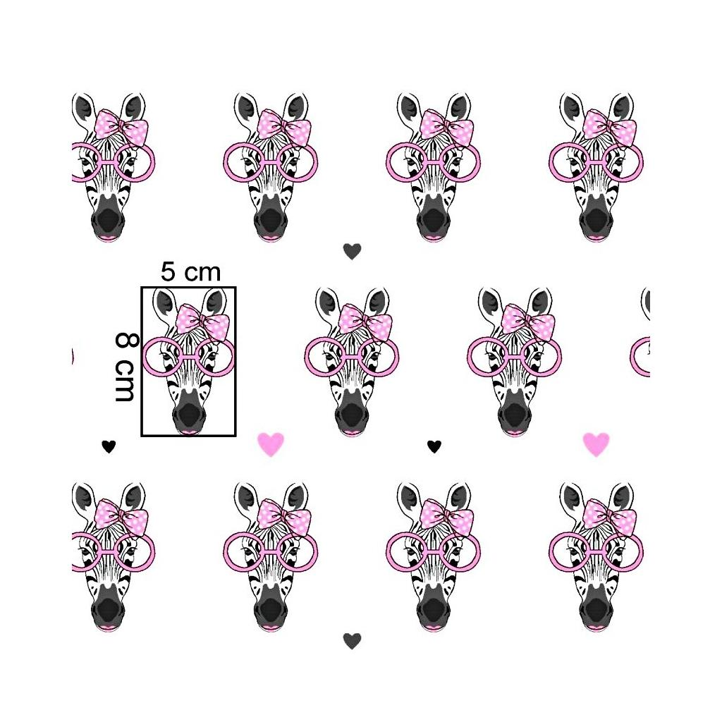 Bawełna zebry w różowych okularach na białym tle