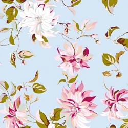 Tkanina w kwiaty clematis na błękitnym tle