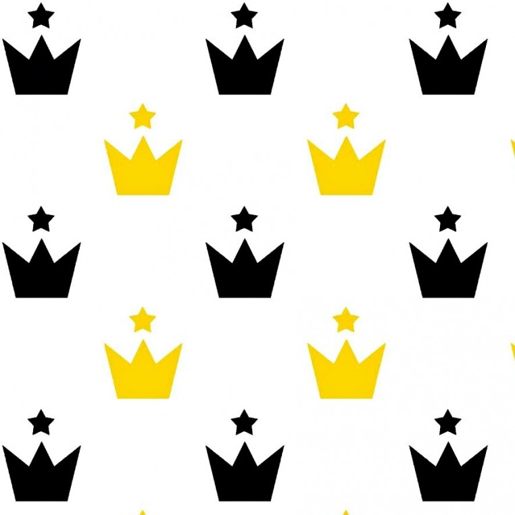 Tkanina w korony żółto czarne z gwiazdkami na białym tle