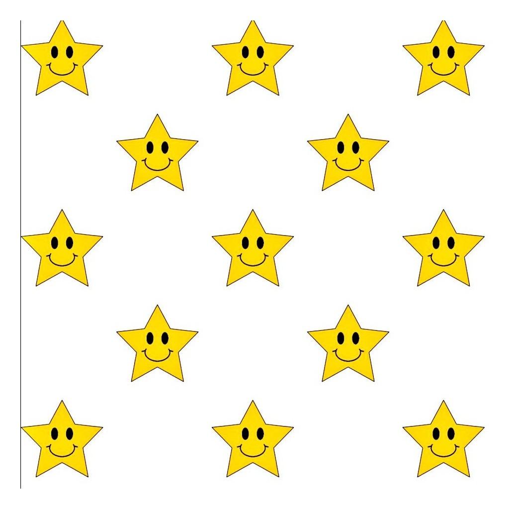 Tkanina w gwiazdki uśmiechnięte żółte na białym tle