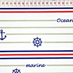 Tkanina w pasy marynarskie granatowo czerwone