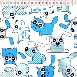 Tkanina w pieski i koty niebieskie na białym tle
