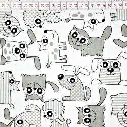 Tkanina w pieski i koty szare na białym tle