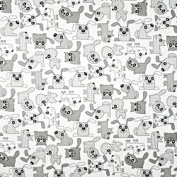 Bawełna pieski i koty szare na białym tle