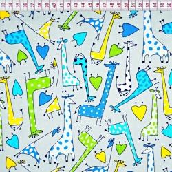 Bawełna żyrafy zielono niebieskie na szarym tle