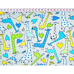 Tkanina w żyrafy zielono niebieskie na szarym tle