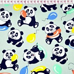 Bawełna Pandy z balonikami na szarym tle