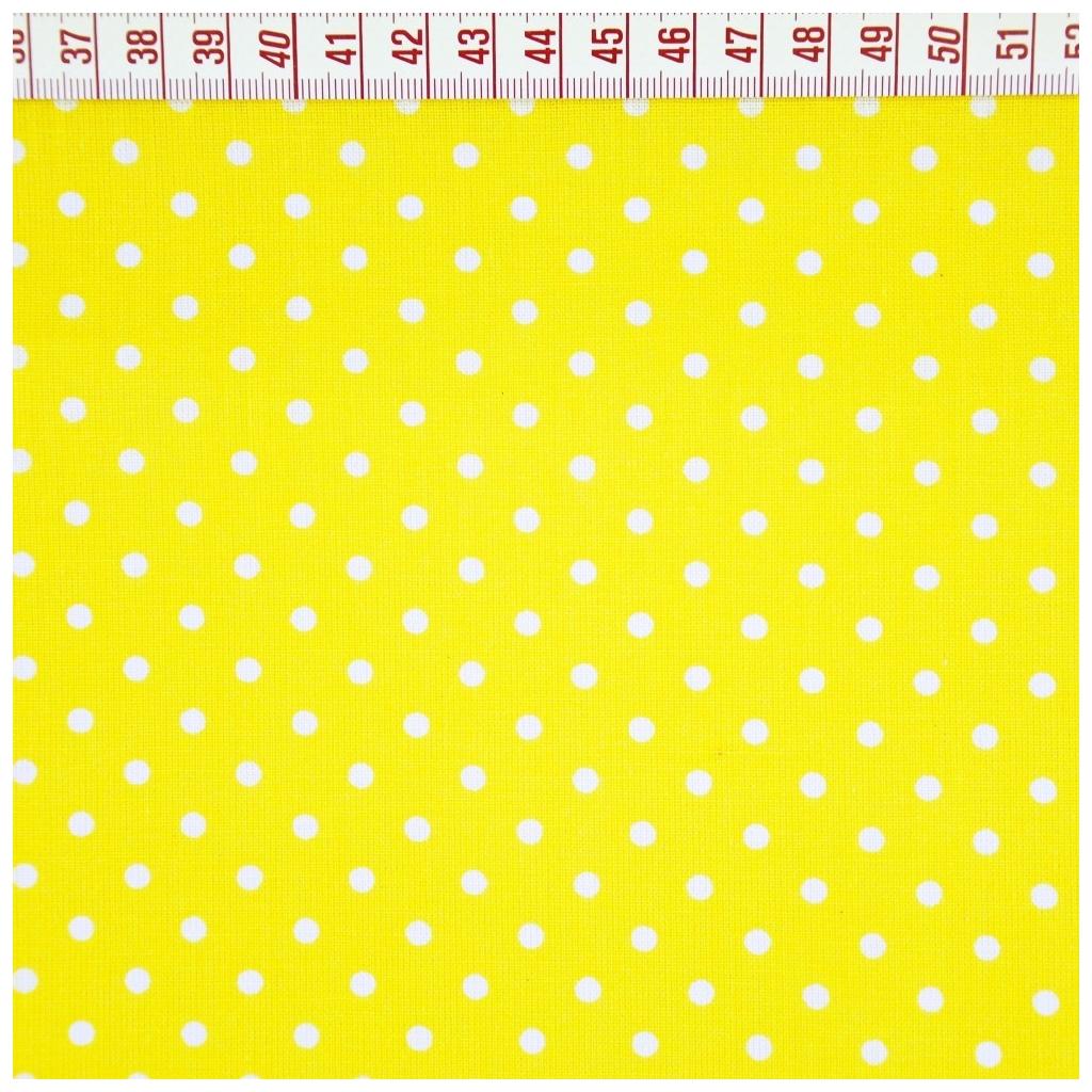 Tkanina w kropki białe na żółtym tle